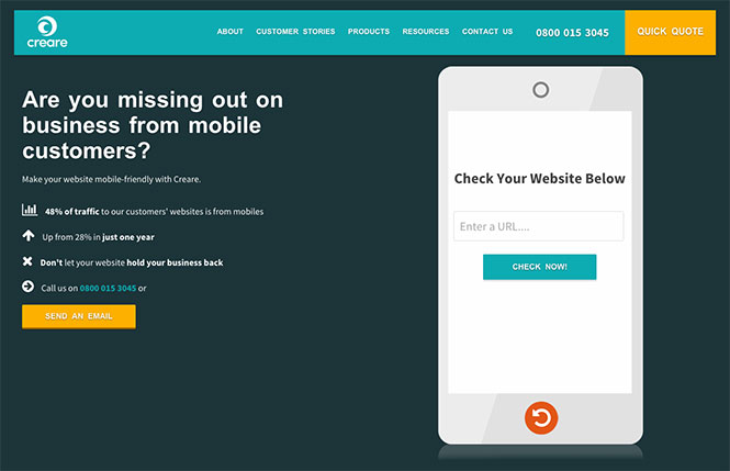 Creare Mobile Site Checker