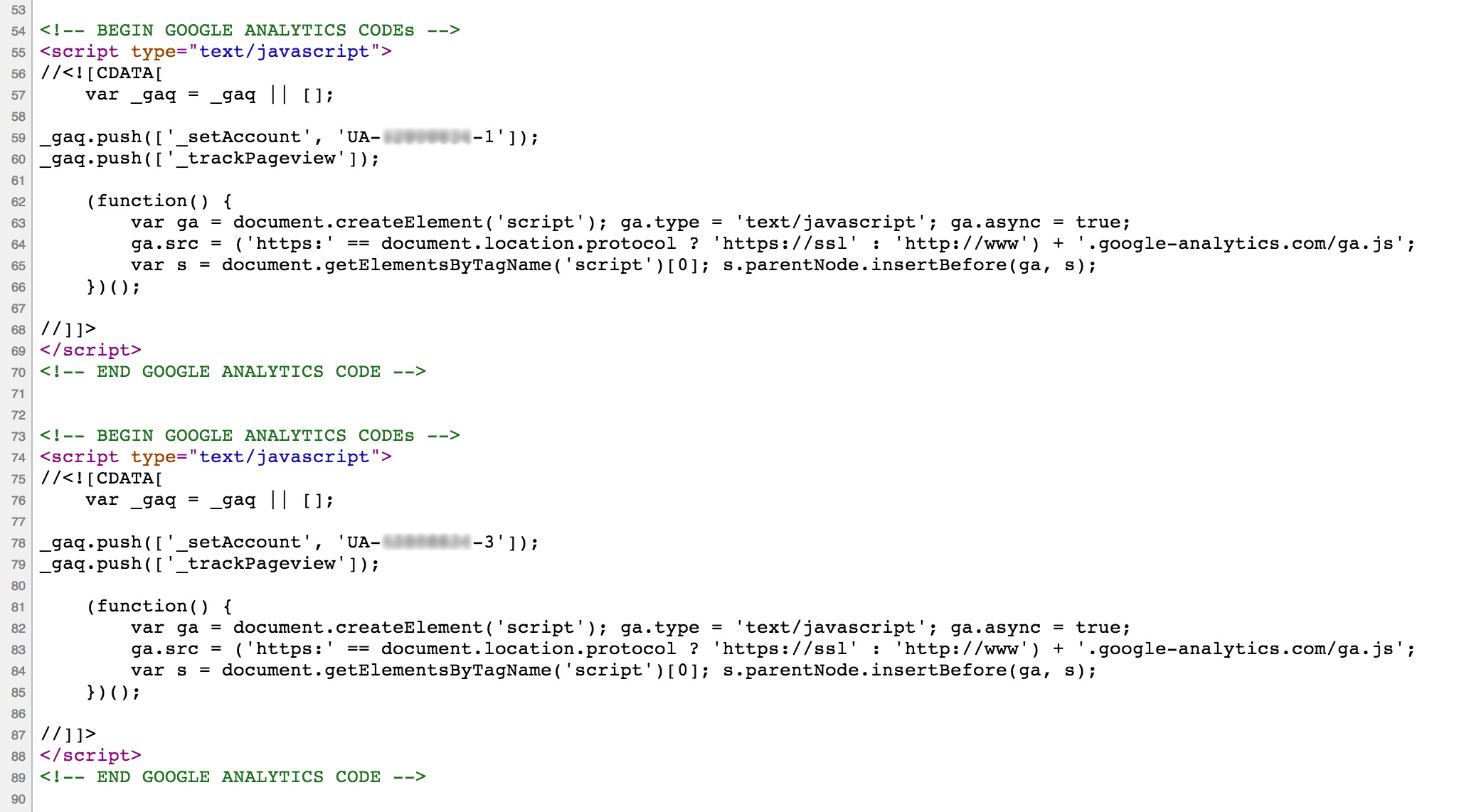 In the head section we can see that we're bring out two versions of the analytics code