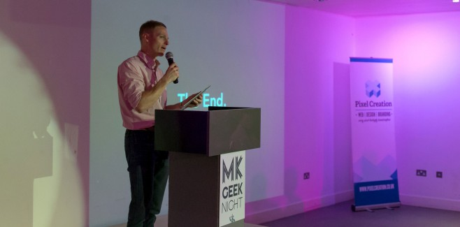 Richard Wiggins hosting MK Geek Night