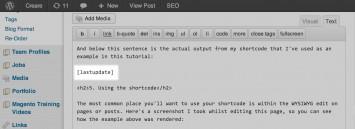 Shortcode deployed within the WordPress WYSIWYG Editor