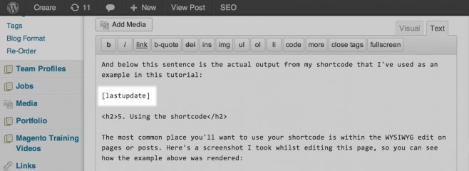 Shortcode deployed within the WordPress WYSIWYG Editor