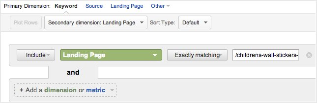 Filter in Secondary dimension: Landing Page