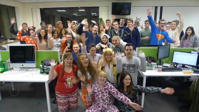 The Creare SEO Team in their Pyjamas and Onesies