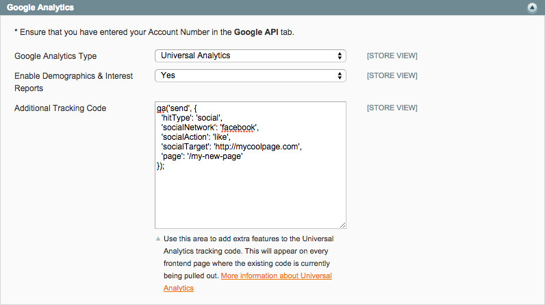 Universal Analytics Settings