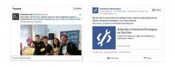 Example of social media feeds