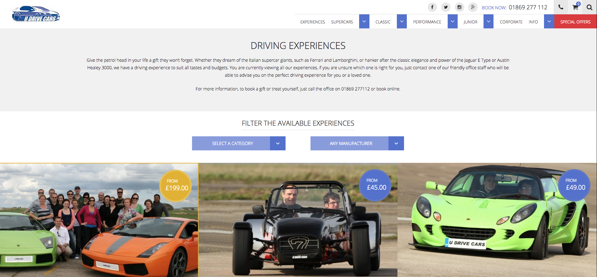 New U Drive Cars Category Page Design
