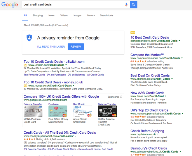 national search SERPs