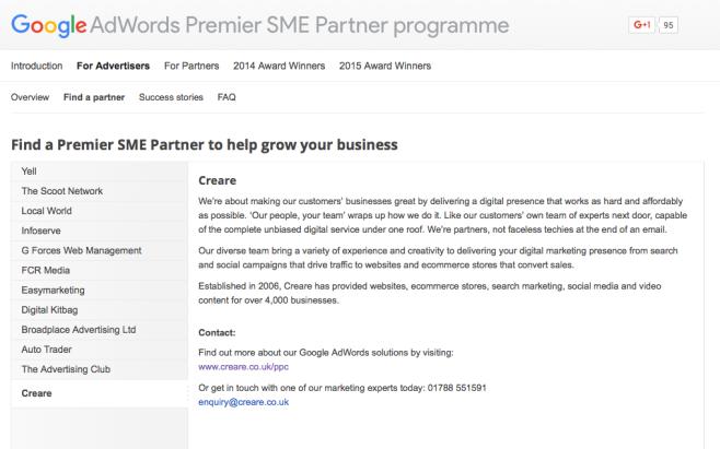 Creare SME Premier Partner